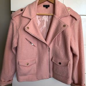 Sister Jane pink wool moto jacket small medium